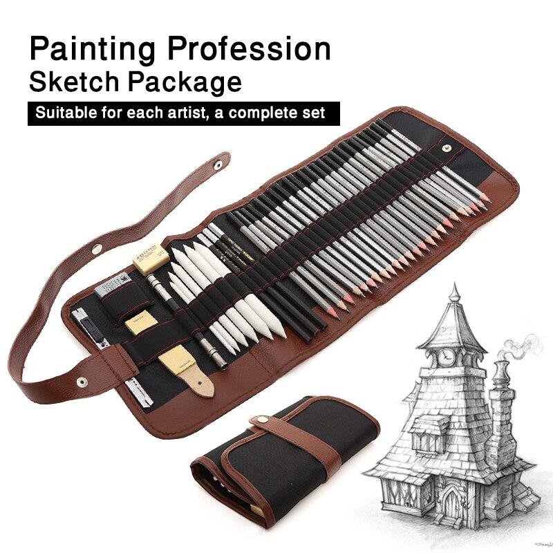 Juego unids de 39 piezas de lápices para dibujar, juego de lápices de madera para pintar, útiles de arte para estudiantes escolares