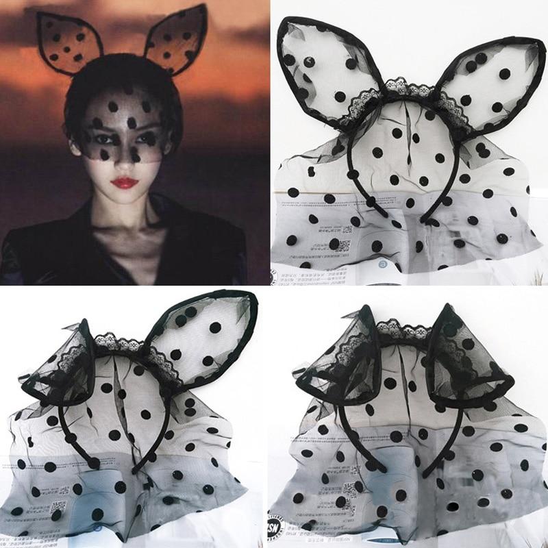 awaytr easter 2017 fashion women girl hair bands lace rabbit ears veil black eye mask halloween - Black Eye Mask Halloween