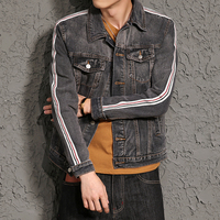 Retro Fashion Casual Denim Jacket For Men Male Spring Autumn Gray Jean Wash Coat Outerwear Mens