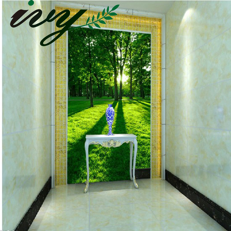 Photo Hallway Wallpaper Murals Leaf Wall Paper Green Woods Living Room Wall Papers Home Decor Environmental Vertical 3D Floor water pump for engine d1005 v1505 zero turn mower zd28 zd25f zd326 16251 73034