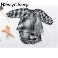 The New Girls Clothing Sets Spring And Summer 2018 Plaid Bow Two Piece Suit Classic Female