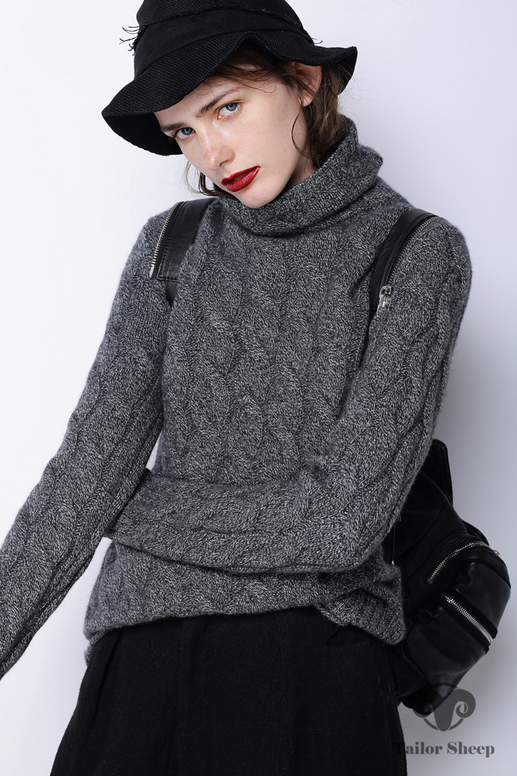 winter thick turtleneck sweater women 100% pure cashmere sweater female twist knitted bottoming warm pullover 13