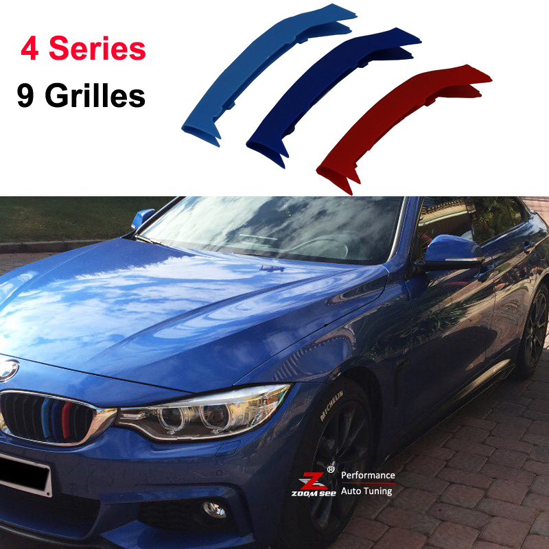 3D M Sport Front Grille Strip grill Cover Stickers For 2014-2017 BMW 4 series F32 F33 F36 420 425 430 435 440 ( 9 Grilles) 3 series carbon front bumper racing grill grills for bmw f30 f31 standard sport 12 16 320i 325i 330i 340i non m3 style car cover