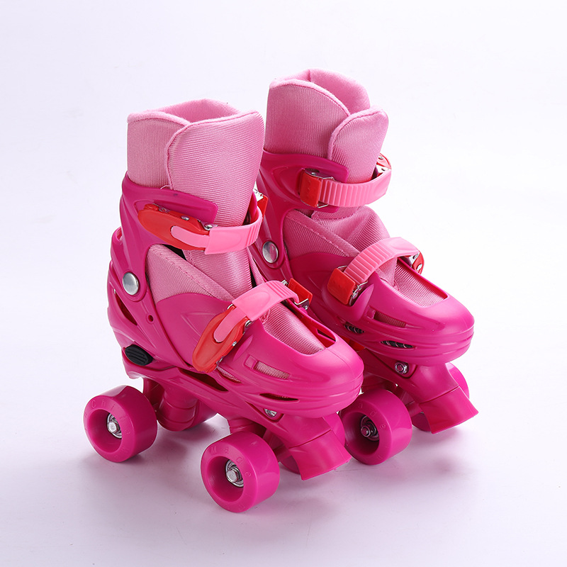 1 Pair Lovely Kids Children Teenagers Double Line Quad Parallel Skates Shoes Boots 4 Wheels Shockproof