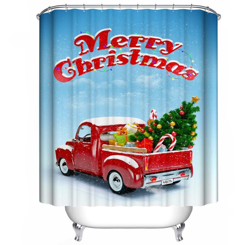 1 PC Christmas 12PCS hooksWaterproof Polyester Bathroom Shower Curtain Decor With Hooks New 150cm*180cm Janu 10