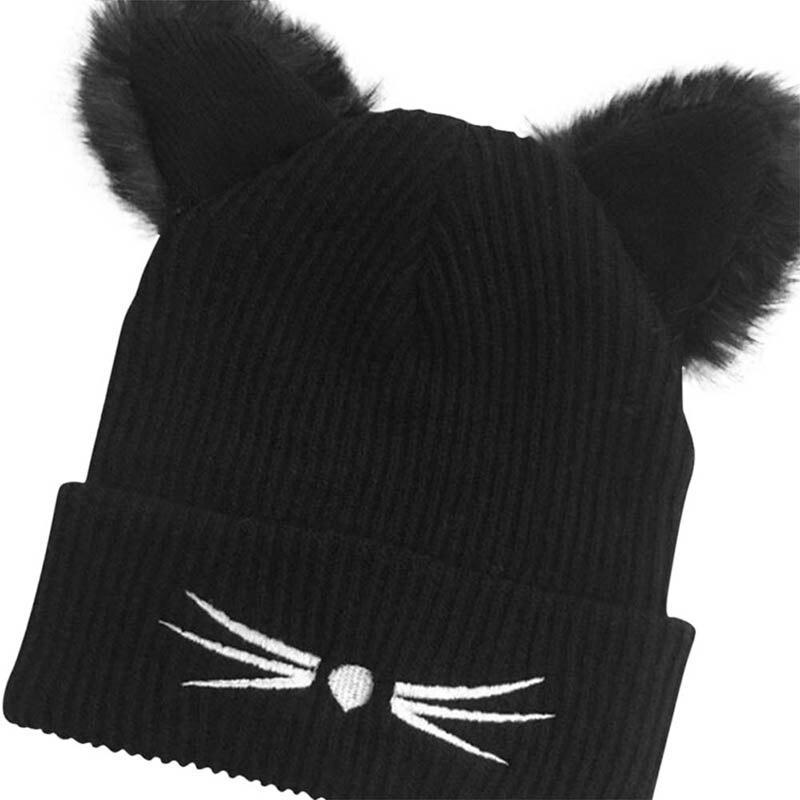 Winter Women Harajuku Woolen Knitting Beanie Devil Horns Cat Ear Crochet Braided Knitted Fur Cap 2017Hot