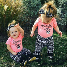 Toddler Girl Outfits Pink Letter Tops+ Long Pants Cotton Children Sets For Girls Costume 2pcs/Set Baby Set