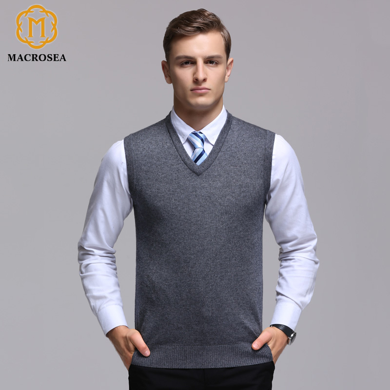 Aufrichtig Macrosea Klassische Stil Solid Color Herren Formal Business Wolle Weste Männlichen Herbst & Winter Wolle Pullover Männer Marke Sleeveless Pullover