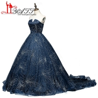 Liyatt Sparkly Beaded Bóng Gown Prom Dresses 2017 Bất Photos Tulle Tay Puffy Dài Prom Dress Evening Gowns Custom Made