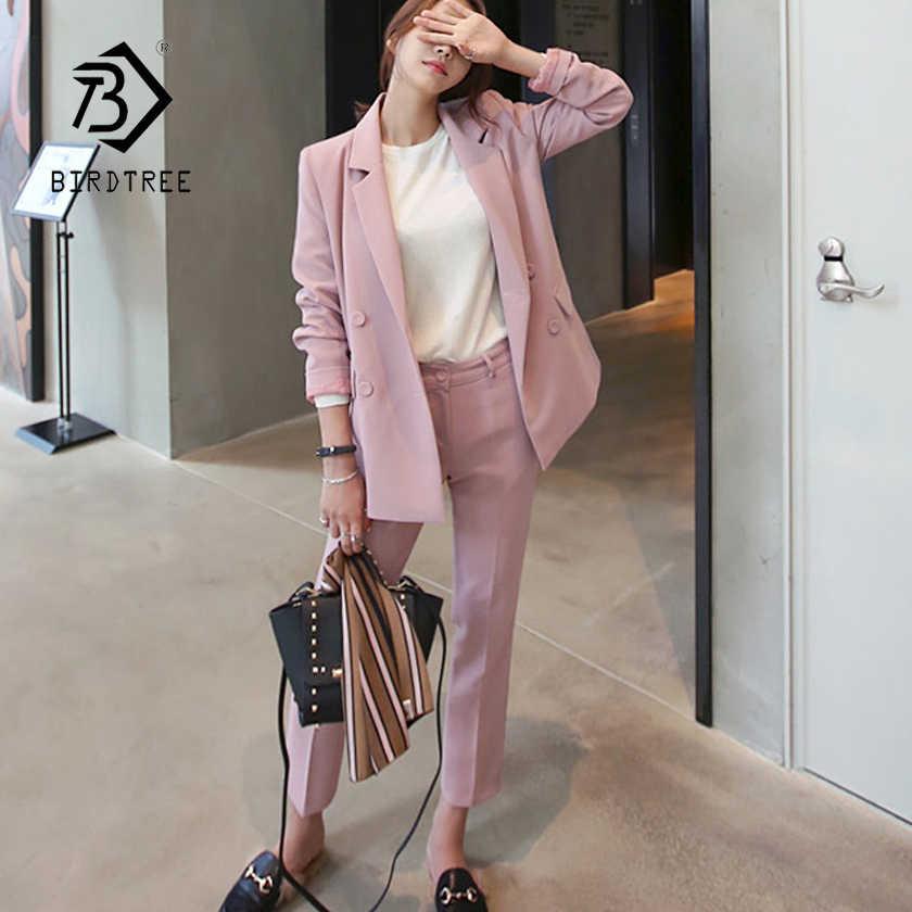 女性パンツスーツピンク固体ダブルブレストブレザー & ハイウエストパンツエレガントな甘い女性の基本的なスーツプラスサイズ hots S87442X