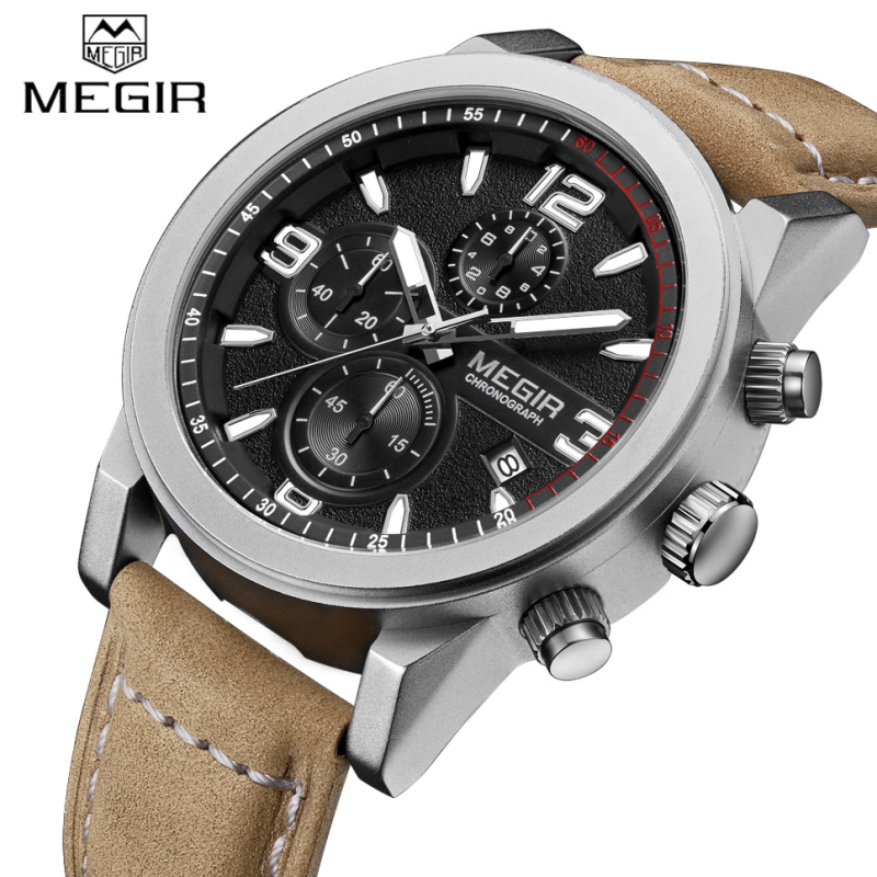 MEGIR Military Chronograph Sport Mens Watches Top Brand Luxury Quartz Watch Reloj Hombre 2016 Clock Male Hour Relogio Masculino megir sport mens watches top brand luxury male leather waterproof chronograph quartz military wrist watch men clock saat 2017