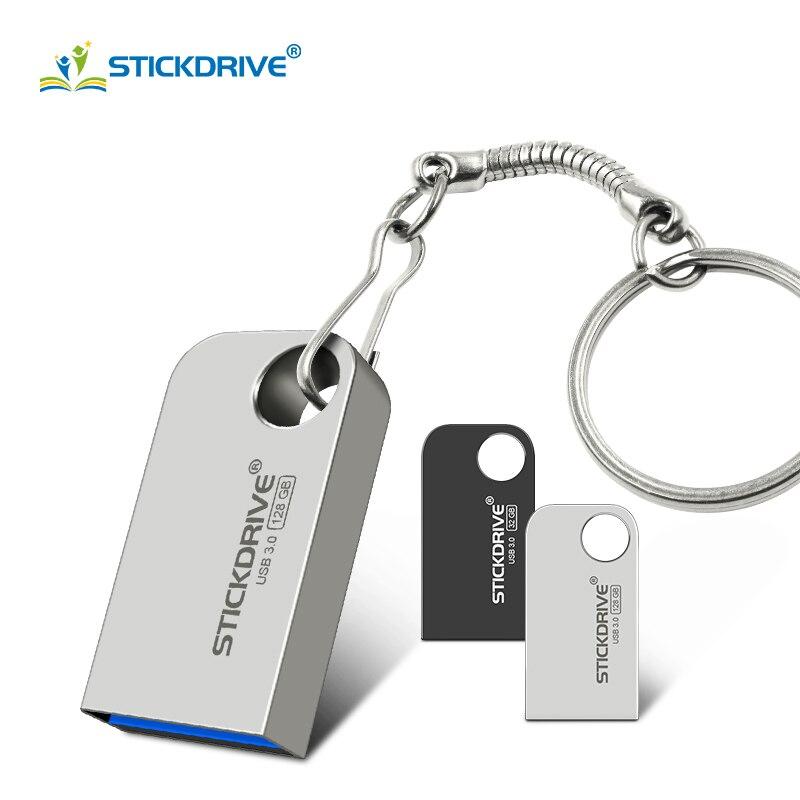 Gift Key Ring USB 3.0 Pen Drive 128GB 64GB USB Flash Drive 32GB 16GB Memoria Usb Stick Pendrive Mini Cle Usb Metal Flash Disk