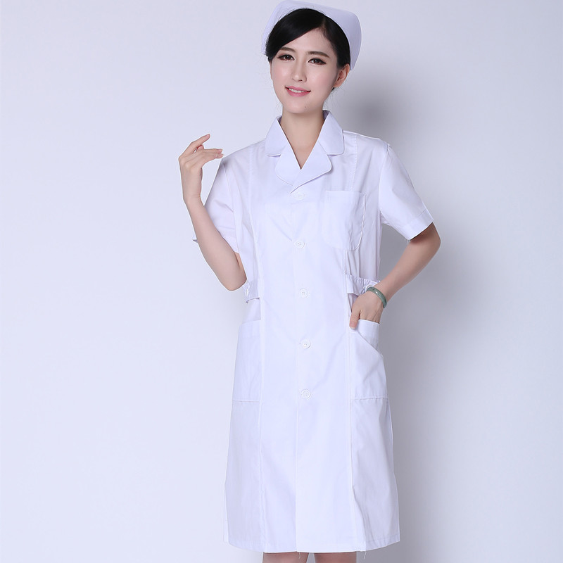 Nurses wear short-sleeved white coat spring summer womens hospital uniforms white Korean long-sleeved beauty salon clothes