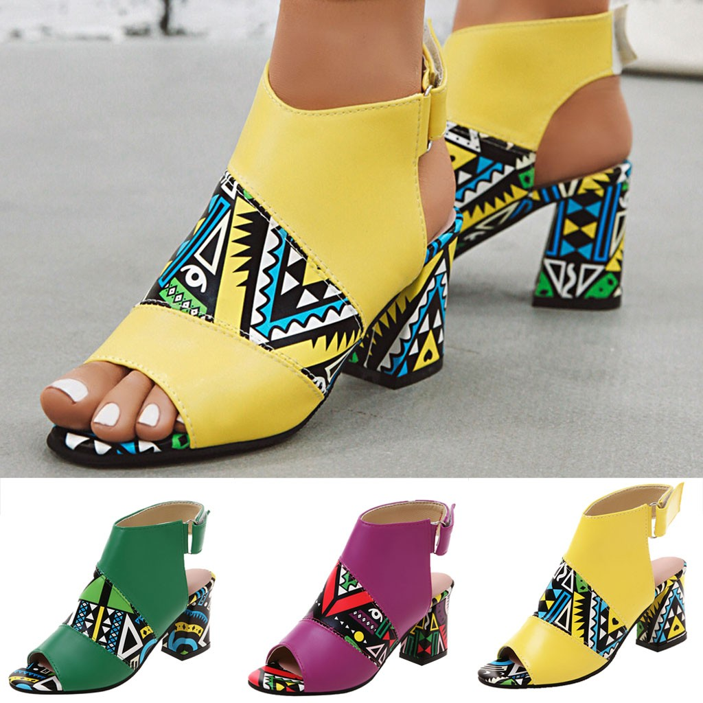 Sandals Casual-Shoes Middle-Heel Matching Color Summer Stylish Brand Women Fish-Mouth-Buckle title=