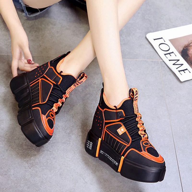 Women Sneakers 2019 Spring Summer High Heels 11CM Ladies Casual Shoes Women Wedges Platform Shoes Female Thick Bottom Trainers