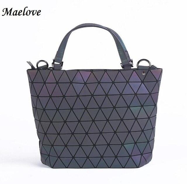 a56d1fca6b54 PROMOTION Luminous bag Women Geometry Diamond Tote Quilted Shoulder Bags  Laser Plain Folding Handbags Free Shipping
