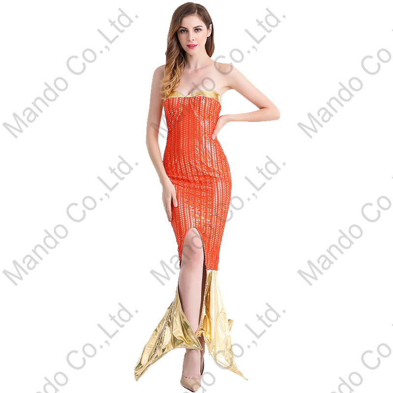 Women Orange Mermaid Cosplay Costume Fairy Tale Halloween Carnival Fancy Dress Girls Masquerade party costume Dresses