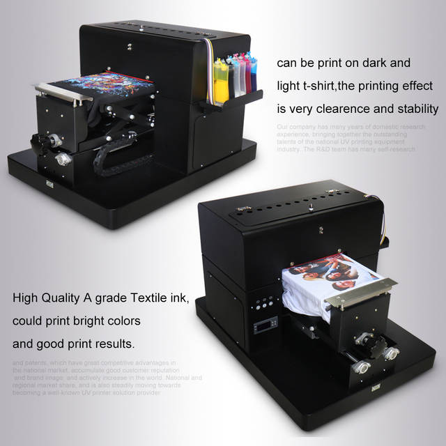 US $1012 21 14% OFF|A4 Flatbed Printer Multicolor A4 Size DTG T Shirt  Printer Directly to Print Dark Light Color for TShirt Clothes Printing