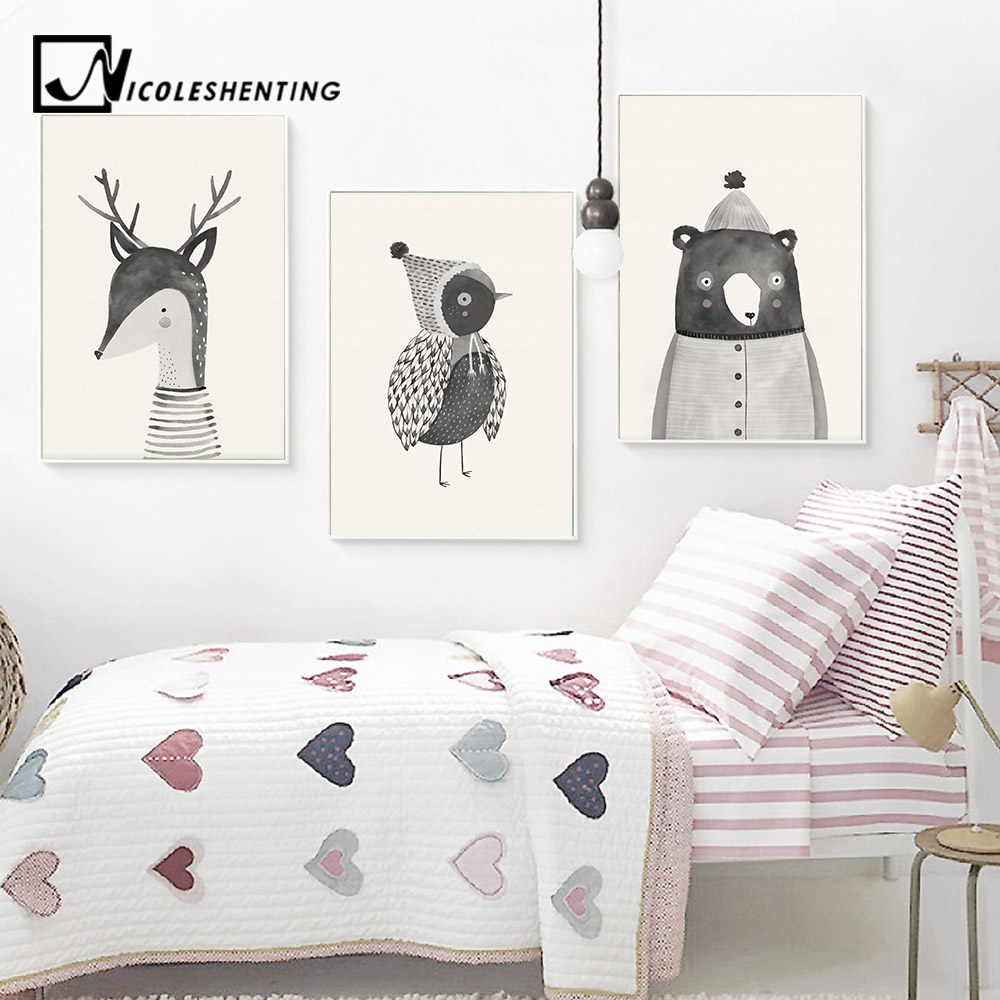 Woodland Animal Deer Bear Wall Art Canvas Nordic Posters Nursery Prints For Baby Room Painting Picture Kids Bedroom Decoration
