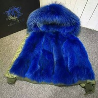 Navy blue bomber fur parka for ladies winter wear, army green pattern warmbody raccoon hoodies mini bombers