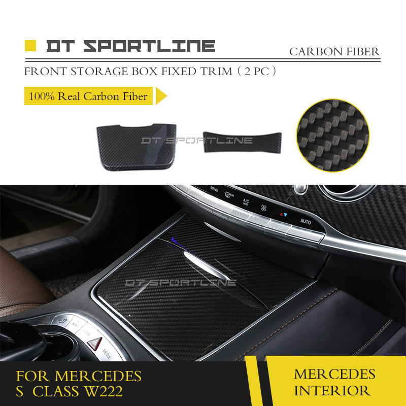 100% Real Carbon Fiber Interior Trim For <font><b>Mercedes</b></font> <font><b>S</b></font> <font><b>Class</b></font> <font><b>W222</b></font> S320 S400 S450 S500 Maybach Dash Car Styling Interior decoration image