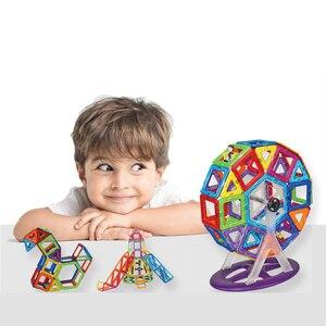 Image 4 - 54pcs Big Size Magnetic Building Blocks Triangle Square Brick designer Enlighten Bricks Magnetic Toys Free Stickers Gift