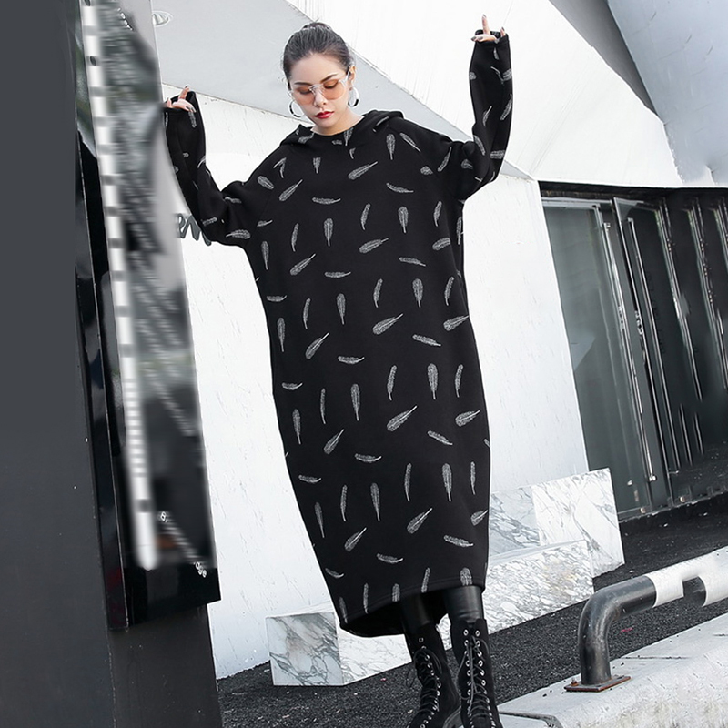 New Feather 2019 Sleeve Prined Spring Black Loose Women Long Fashion Winter eam Sweatshirt Hooded Ji772 Size Big Dress wzB5g8nq