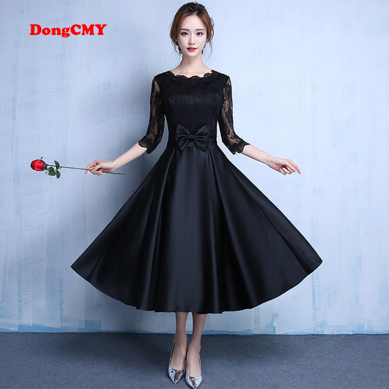 DongCMY 2019 Lace new fashion Black color plus size Robe De Roiree party short   evening     dresses