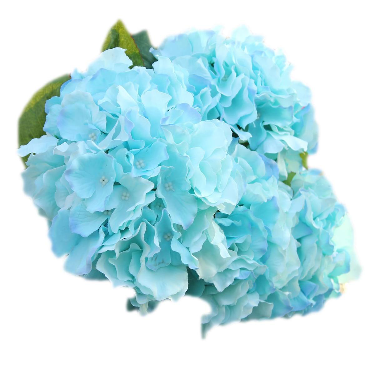 <font><b>Top</b></font> List Artificial Hydrangea 5 Flower Heads Bouquet Wedding <font><b>Garden</b></font> <font><b>Party</b></font> Bridal Decor Sky Blue