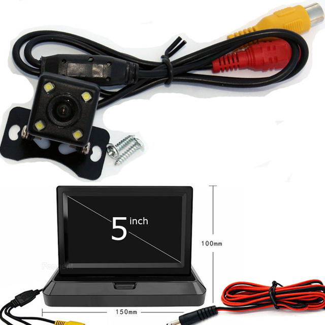 3 in 1 Wireless Parking Reverse Camera Monitor Video System, Folding Foldable Car Monitor With Rear View Camera + Wireless Kit