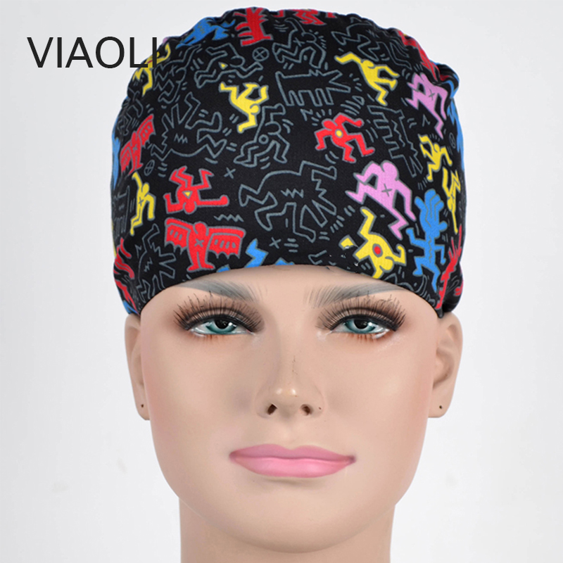 New Operating Room Hat And Surgical Caps Printing For Men And Women With Sweatband Cotton Pet Doctor Hats Medical Caps