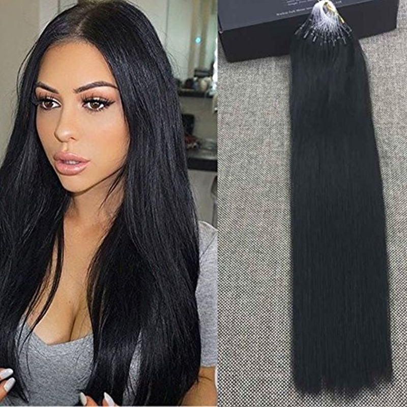 Full Shine Micro Ring Loop Human Hair Extensions Color 1 Jet Black