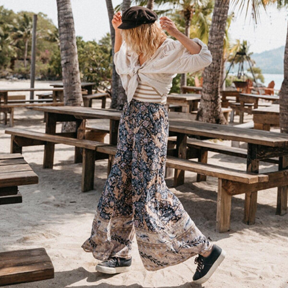 Jastie Boho Heavenly Oasis Palazzo Pants Elastic Waist Pants Summer 2019 Casual Wide Leg Pants Beach Women Pants Long Trousers