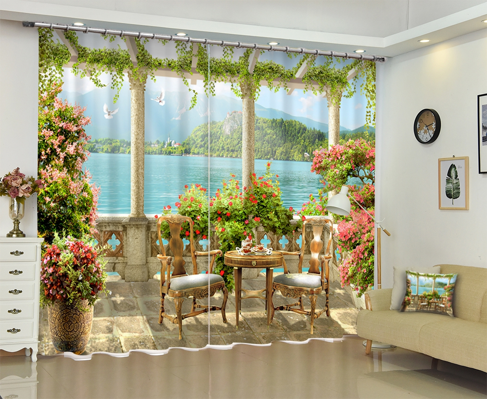 Beautiful Scenery Chinese Luxury 3D Blackout Window Curtains Drape For Living room Bed room Office Hotel