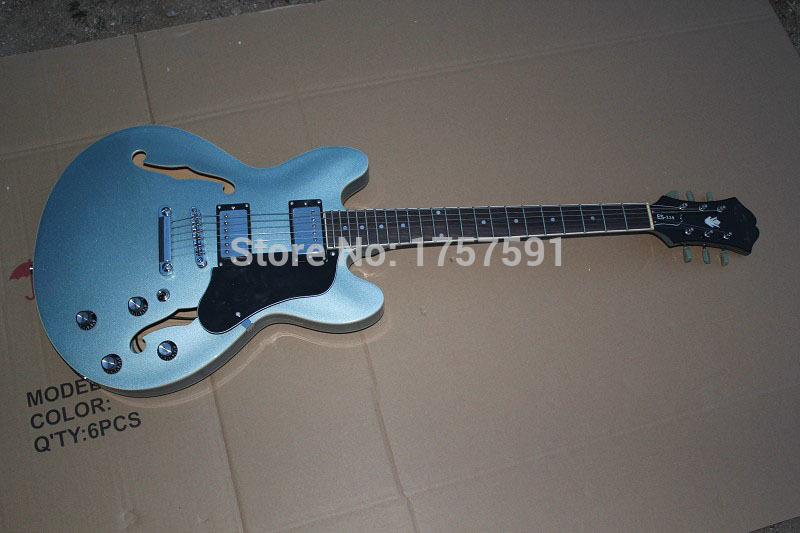 HOT Wholesale High quality F - hole Hollow Body EPI Custom ES339 Metal Blue electric guitar