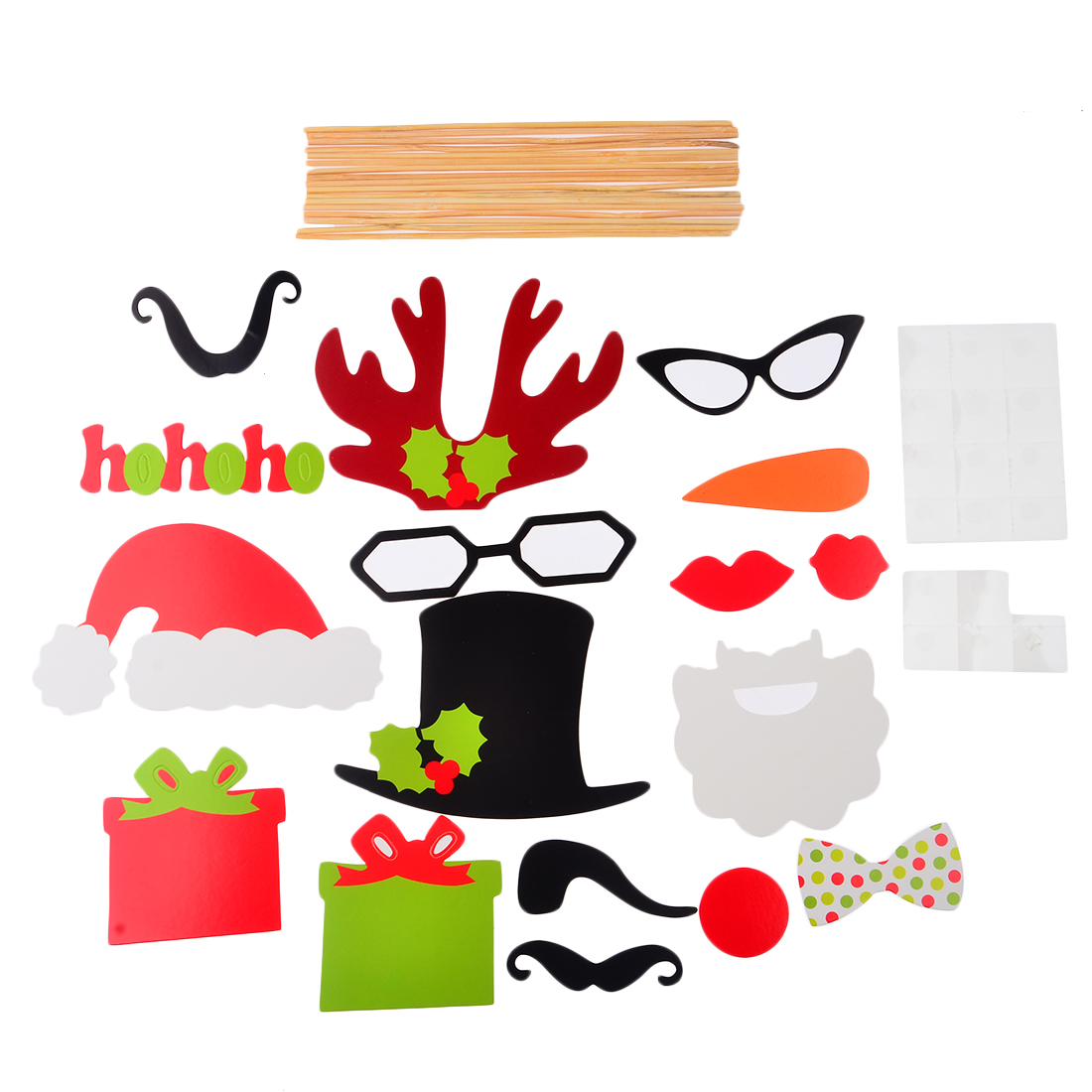 Surwish 17pcs DIY Photo Booth Props Hat Mustache Antlers Glasses On A Stick Wedding Christmas Gift Party Fun Supplies