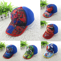 2015 Children Baseball Caps Kid Boys Casual Adjustable Character Print Hip Pop Baby Child Spider Man