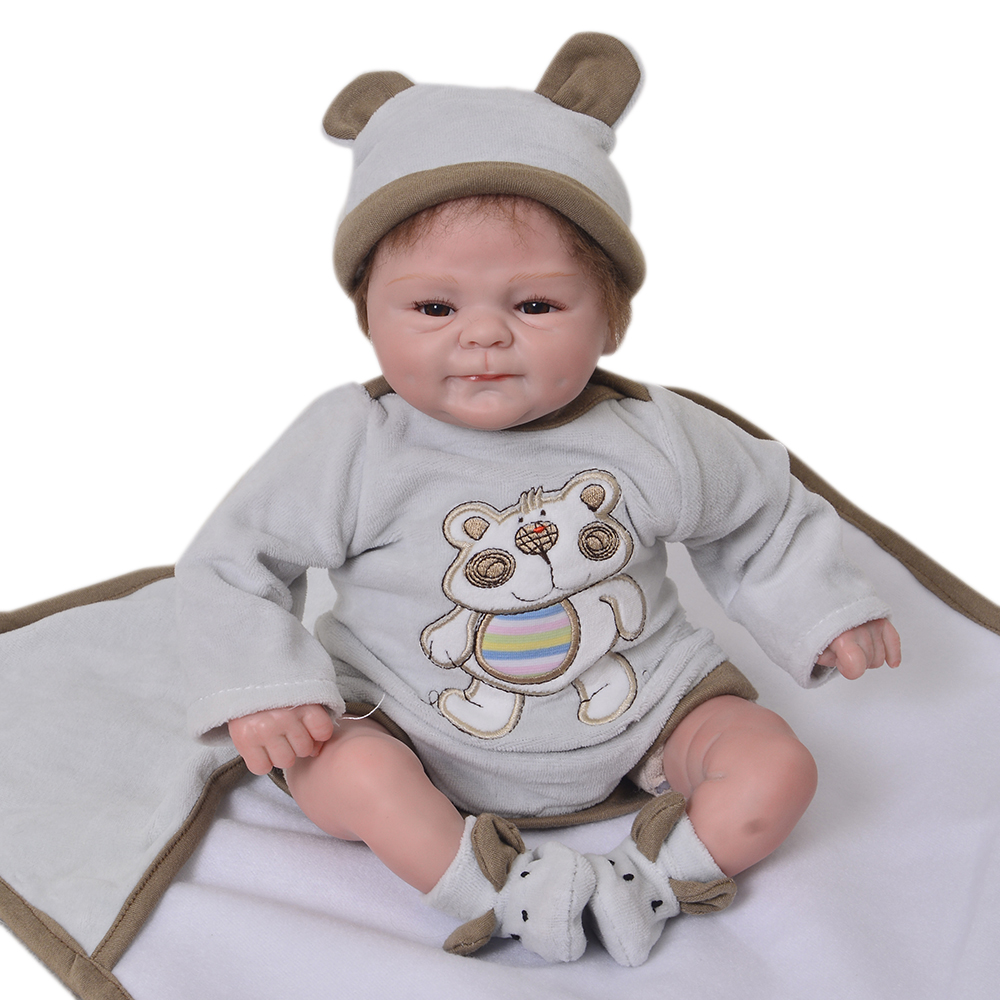 Lifelike 18 Inch Soft Silicone Reborn Boy Doll Fashion 45 cm Realistic Newborn Baby Doll Toy For Children Birthday Xmas Gift 22 inch 55 cm silicone baby reborn dolls lifelike doll newborn toy girl gift for children birthday xmas