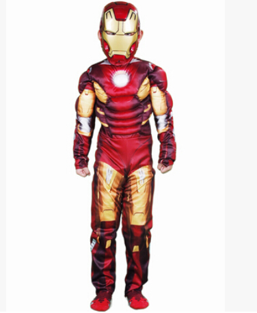 Free shipping super hero Cosplay costume muscle for 3-12 years boy birthday gift party children the avengers stretchyron man