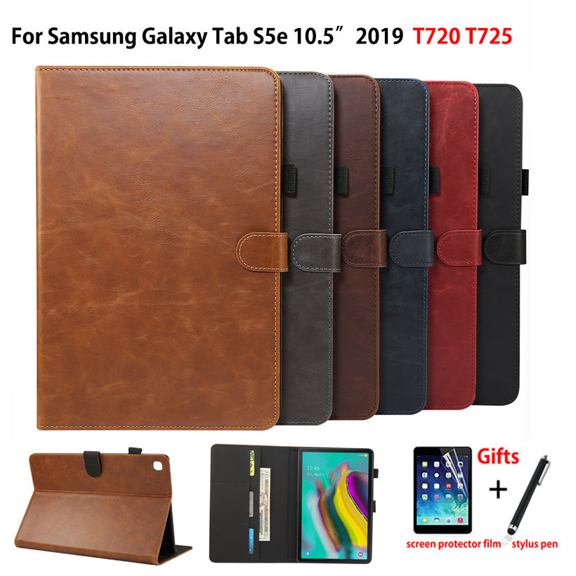 Luxury Case For Samsung Galaxy Tab S5e 10.5 2019 SM-T720 SM-T725 T720 Cover Funda Tablet PU Leather Stand Shell Capa +Film+Pen