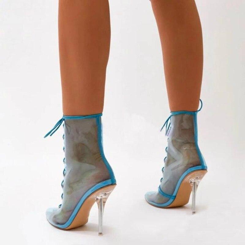 Talons Show As as Pvc Bout Sandales Pour Nu Femme cravate Mujer Chaussures Bottines Spartiates 2019 Hauts Stileto Jaune Show Bottes Bleu Croix Pointu Chaussons qEgxwRvq