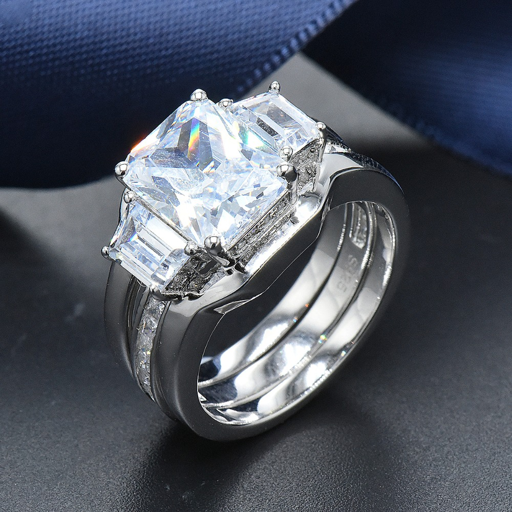 Hutang Luxury 8.48ct Cubic Zirconia 2Pcs Solid 925 Sterling Silver Wedding Ring Sets Engagement Fine Jewelry For Women BridalHutang Luxury 8.48ct Cubic Zirconia 2Pcs Solid 925 Sterling Silver Wedding Ring Sets Engagement Fine Jewelry For Women Bridal