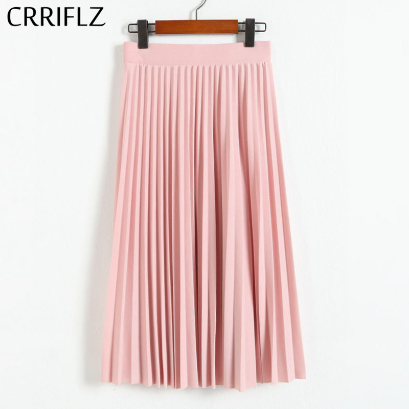 CRRIFLZ 2019 Spring Autumn Fashion Women's High Waist Pleated Solid Color Half Length Elastic Skirt Promotions Lady Black Pink