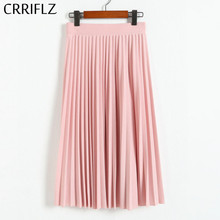 CRRIFLZ Spring Autumn Fashion Women #8217 s High Waist Pleated Solid Color Half Length Elastic Skirt Promotions Lady Black Pink cheap Polyester spandex NONE FWQ0309 empire Casual Knee-Length Spring Autumn Winter Summer One Size Available Fashion Skirts