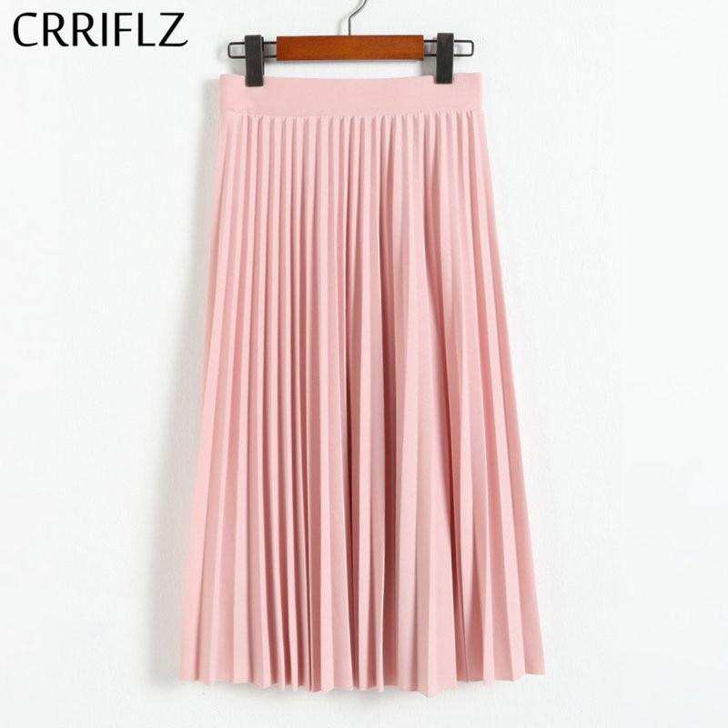 CRRIFLZ весна осень модные женские Высокая талия плиссированные сплошной цвет Половина Длина эластичная юбка Акции Леди Черный Розовый