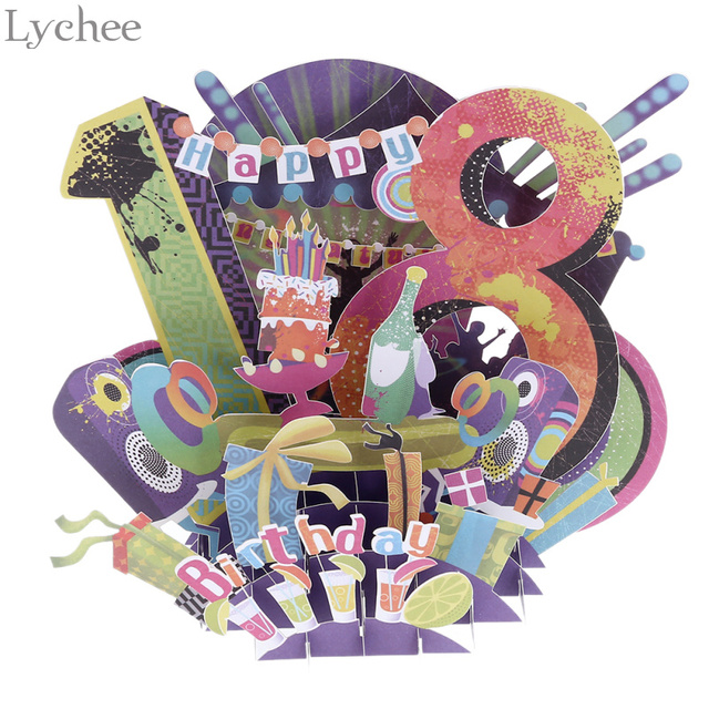 Lychee 18th Birthday Greeting Card 3d Paper Laser Cut Post Cards