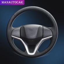 Auto Braid On The Steering Wheel Cover for Honda New Fit City Jazz 2014 2015 HRV HR-V 2016 Vezel 2015-2017 Car
