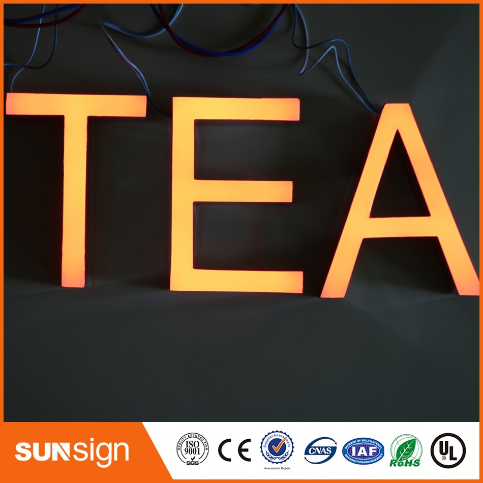 Wholesale Mirror Stainless Steel Epoxy Resin LED Letter