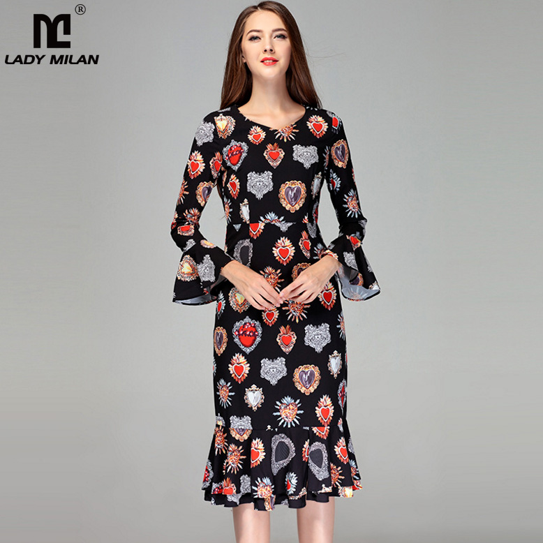 New Arrival 2018 Womens Sexy V Neck Long Sleeves Printed Ruffles Elegant Fashion Casual Mermaid Dresses