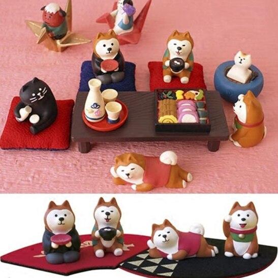 1pcs Mini Cute Doll Ornaments Small Dog Shiba Inu For Good Luck Figurine Miniature Fairy Action Toy Figure 360